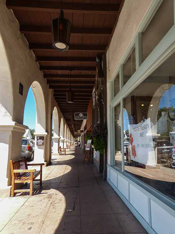 Covered walkway on Main Street in downtown Ojai, about 35 minutes from Camarillo.